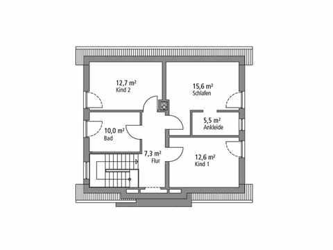 Einfamilienhaus 136 - Ytong Bausatzhaus Grundriss OG