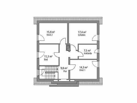 Einfamilienhaus 148 - Ytong Bausatzhaus Grundriss OG
