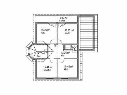 Einfamilienhaus 190 - Ytong Bausatzhaus Grundriss OG