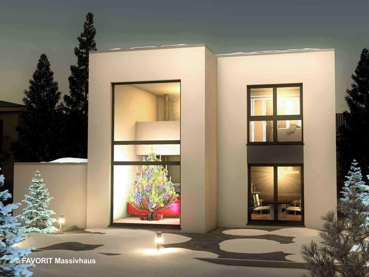 Concept Design 149 - FAVORIT MASSIVHAUS Terrasse am Abend