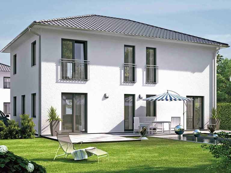 ICON 4 City mit Walmdach - Dennert Raumfabrik Terrasse mit Pool