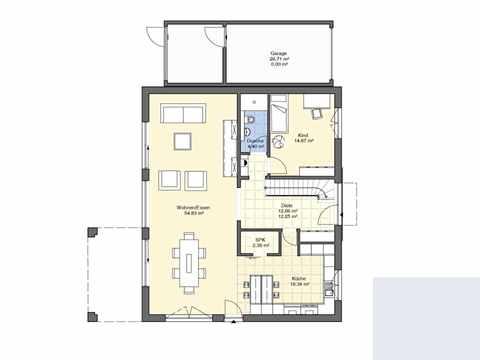 Bauhaus Modern und Puristisch Grundriss EG