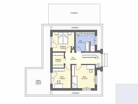 Bauhaus Modern und Puristisch Grundriss OG