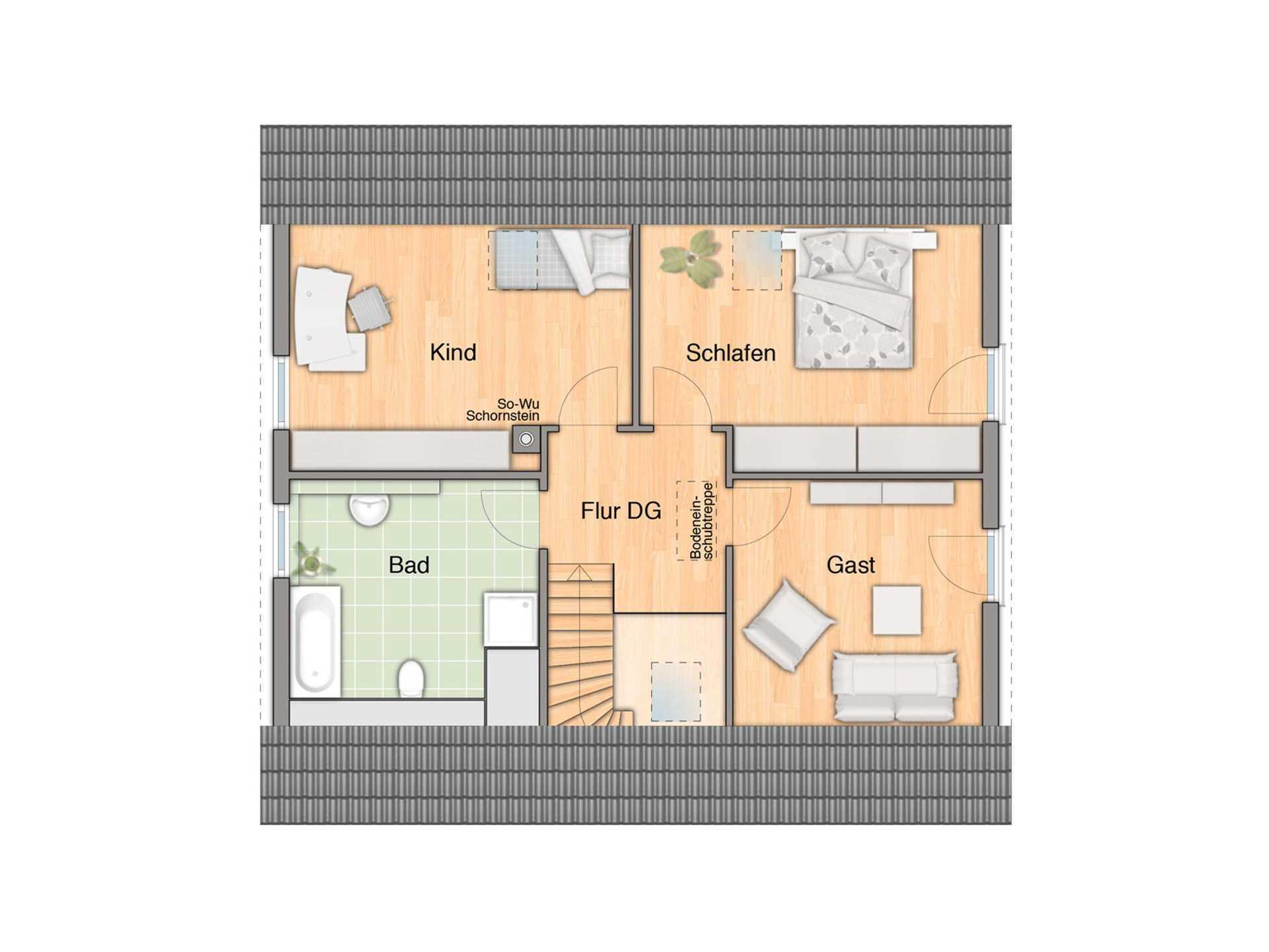 Flair 148 Mitwachshaus Grundriss Dachgeschoss