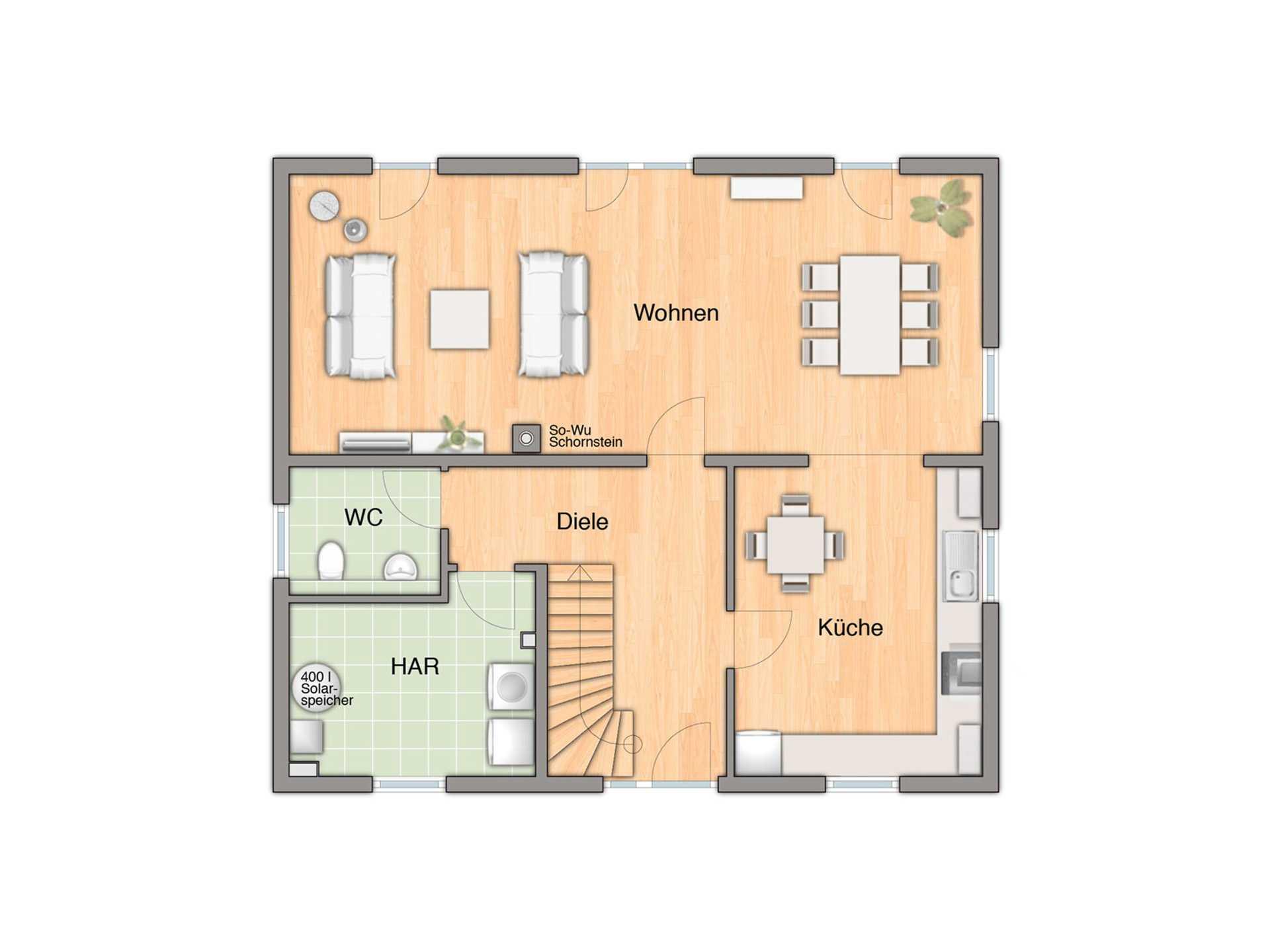 Flair 148 Mitwachshaus Grundriss Erdgeschoss