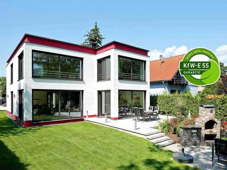 Bauhaus Cubatur 155 - Bau GmbH Roth Hamburg Terrasse mit KfW 55 Siegel