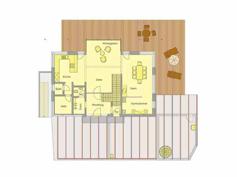 Golden Cube - WOLF System Haus Grundriss EG