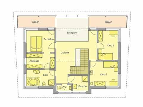 Golden Cube - WOLF System Haus Grundriss OG