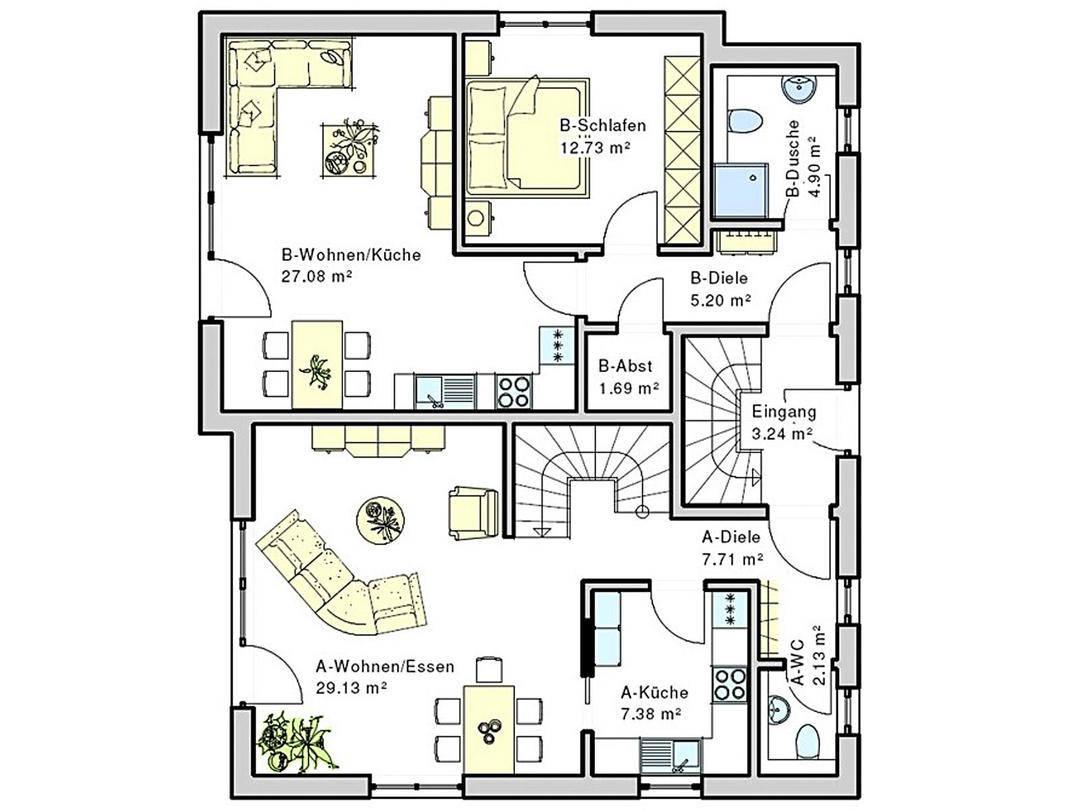 Grundriss einer Etage im Haus Geno 120