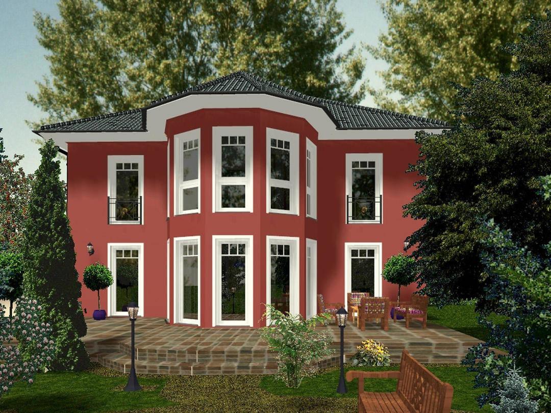 Aussenansicht auf die Hausrückseite mit roter Putzfassade