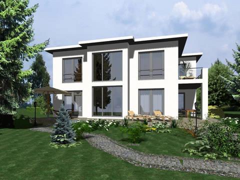 Aussenansicht auf die Hausseite mit Blick auf die großen Fenster.