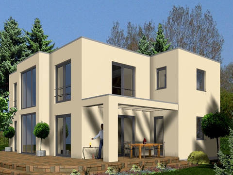 Aussenansicht auf Haus Levin mit Bauhausdach.