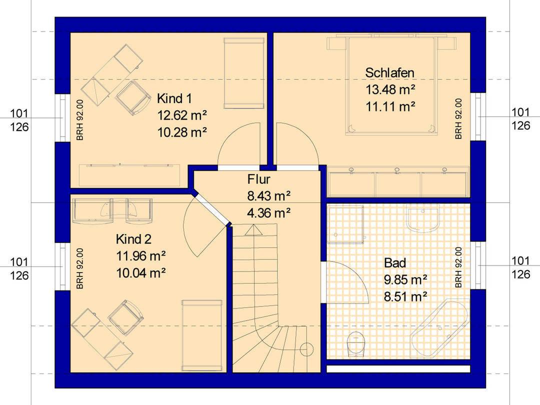 Grundriss Haus B115 Dachgeschoss