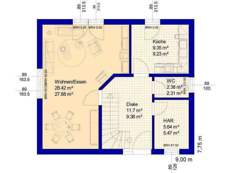 Grundriss Haus B115 Erdgeschoss