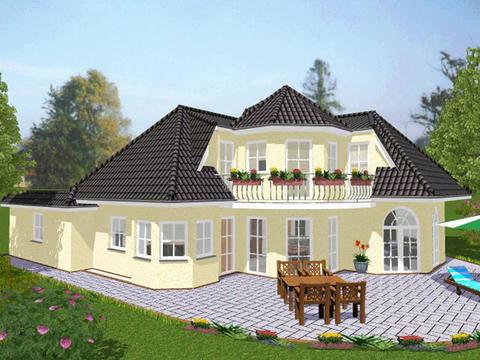 Aussenansicht auf die überdachte Terrasse des romantischen Einfamilienhauses.