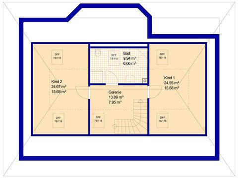 Haus RB125 Grundriss Dachgeschoss (optional ausbaubar)