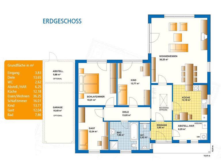 Bungalow Exquisit 4 Grundriss Erdgeschoss