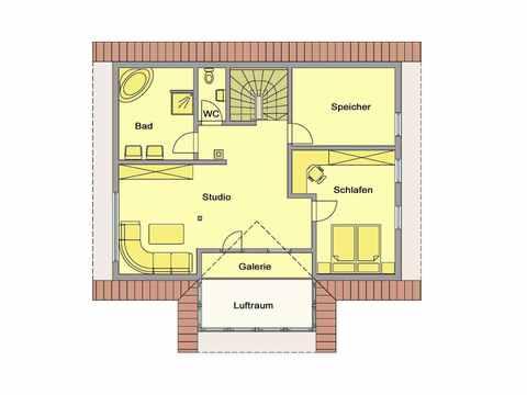 Individuell geplantes Kundenhaus 2 - WOLF System Haus Grundriss DG