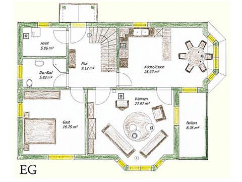 Haus Idee N04 Nordisch Grundriss Erdgeschoss