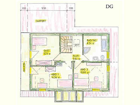 Haus Idee K07 Traditionell Grundriss Dachgeschoss
