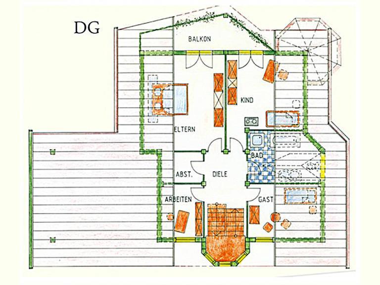 Haus Idee K01 Traditionell Grundriss Dachgeschoss