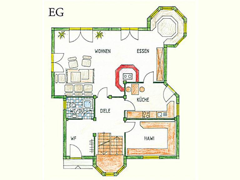 Haus Idee K01 Traditionell Grundriss Erdgeschoss