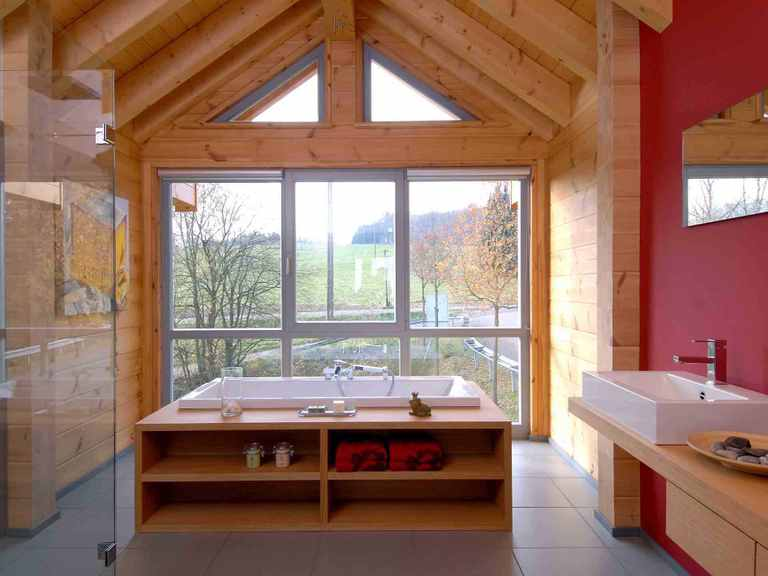 Musterhaus Sommerwiese - Fullwood Wohnblockhaus Badezimmer