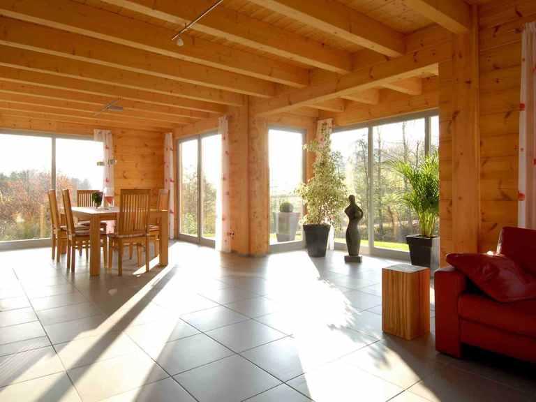 Musterhaus Sommerwiese - Fullwood Wohnblockhaus Wohnbereich