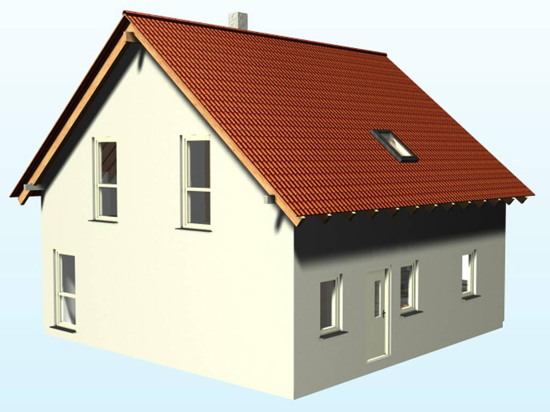 3-D-Ansicht auf das Satteldachhaus SD111.