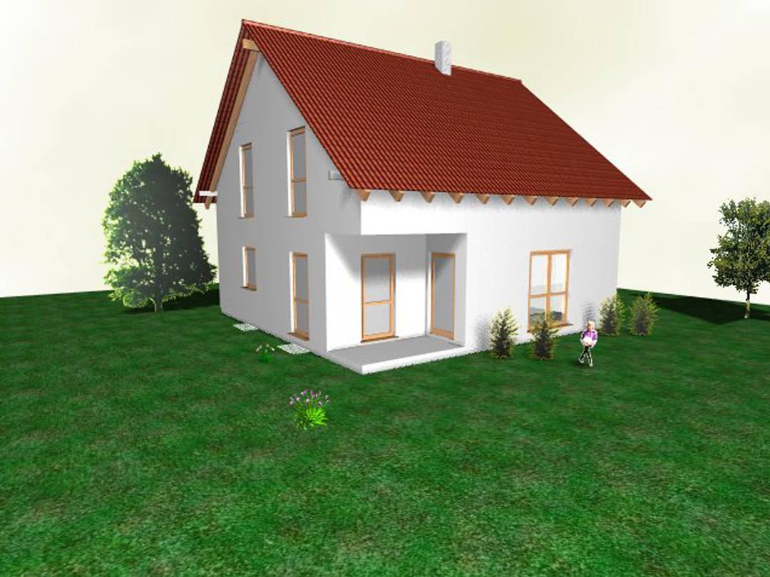 Aussenansicht auf die überdachte Terrasse des Satteldachhauses.