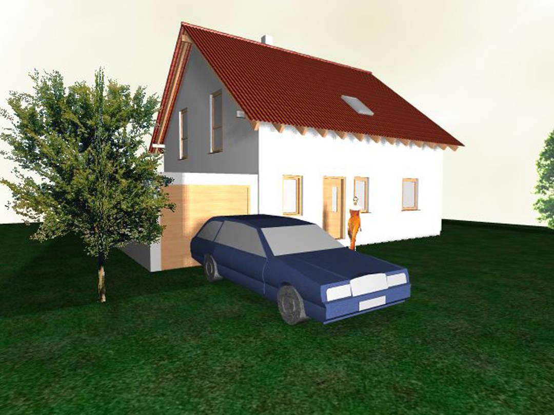 Aussenansicht auf Hauseingang und angrenzende Garage.