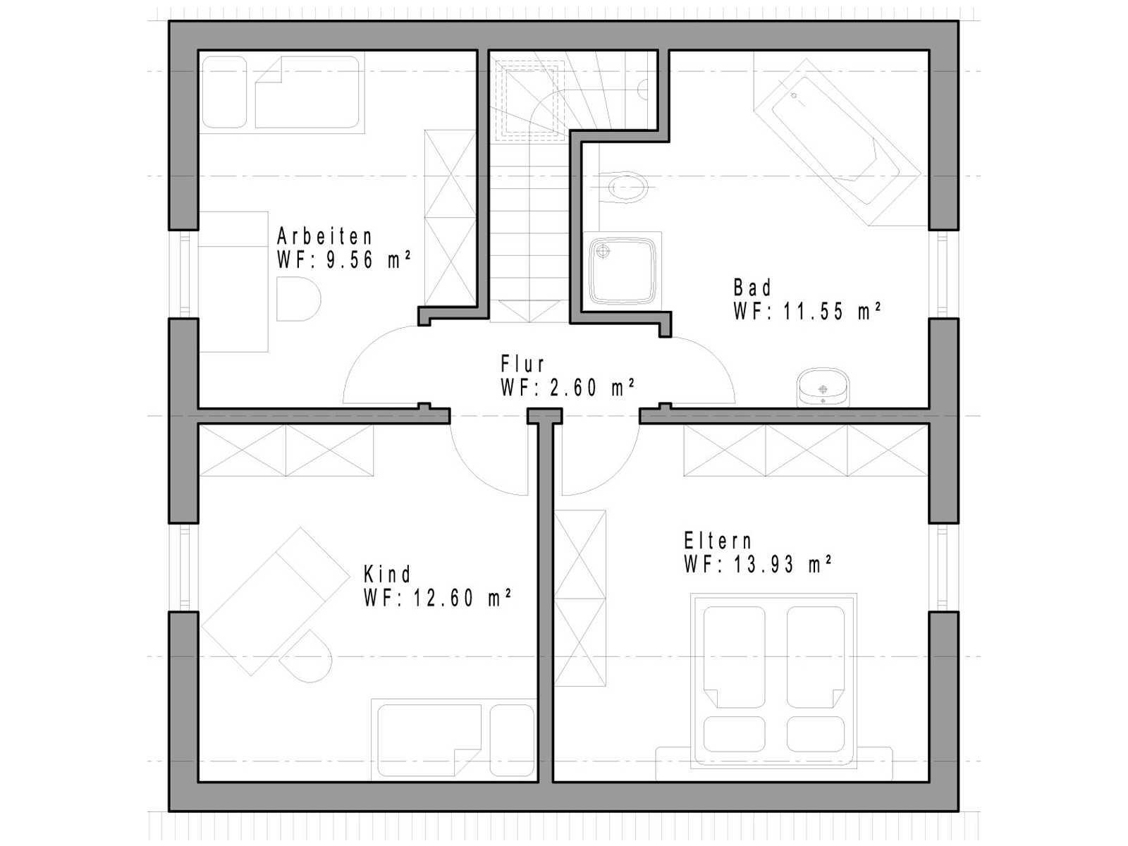 Haustyp SD111 Grundriss Dachgeschoss