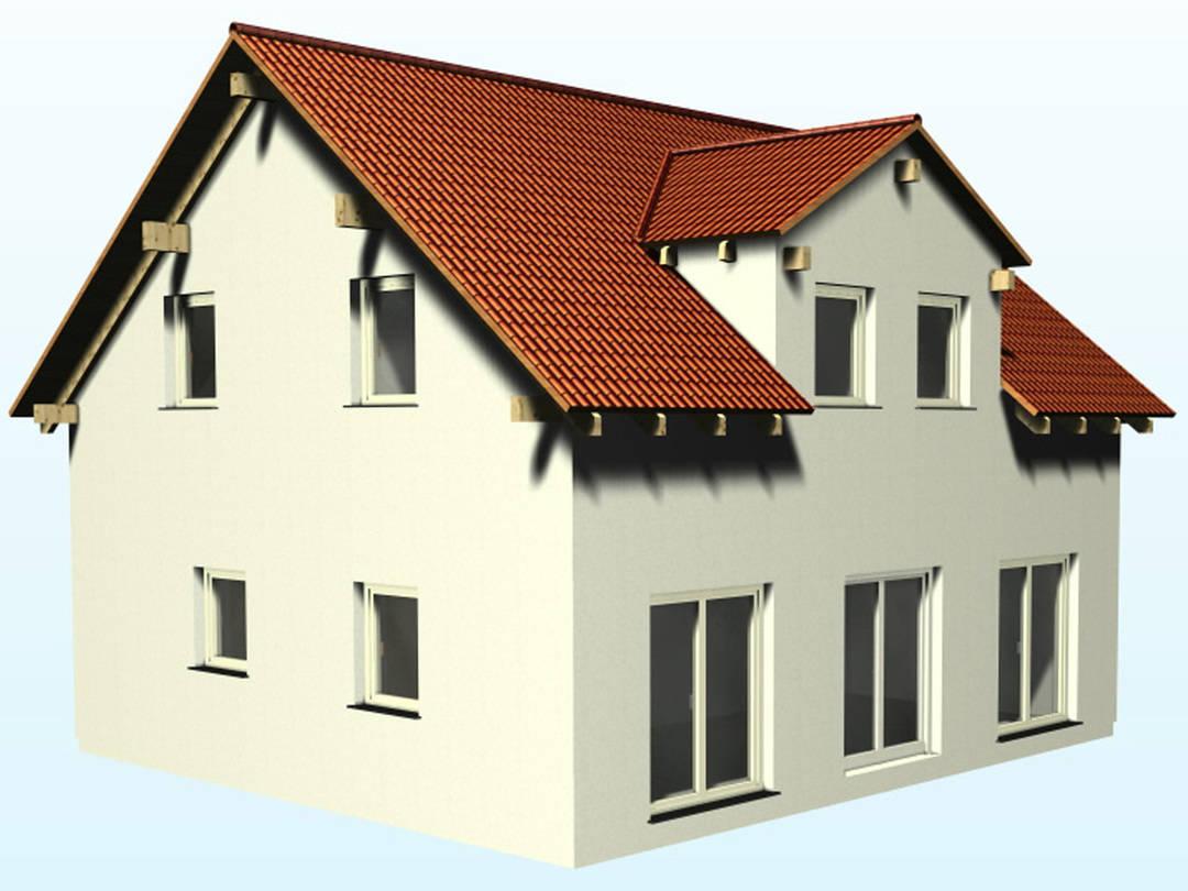3-D-Ansicht auf das Satteldachhaus SD117.