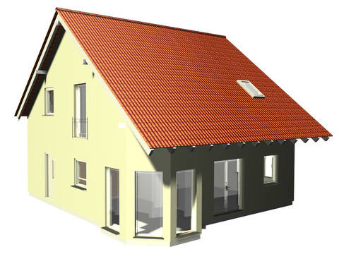 3-D-Ansicht auf das Satteldachhaus SD 124.
