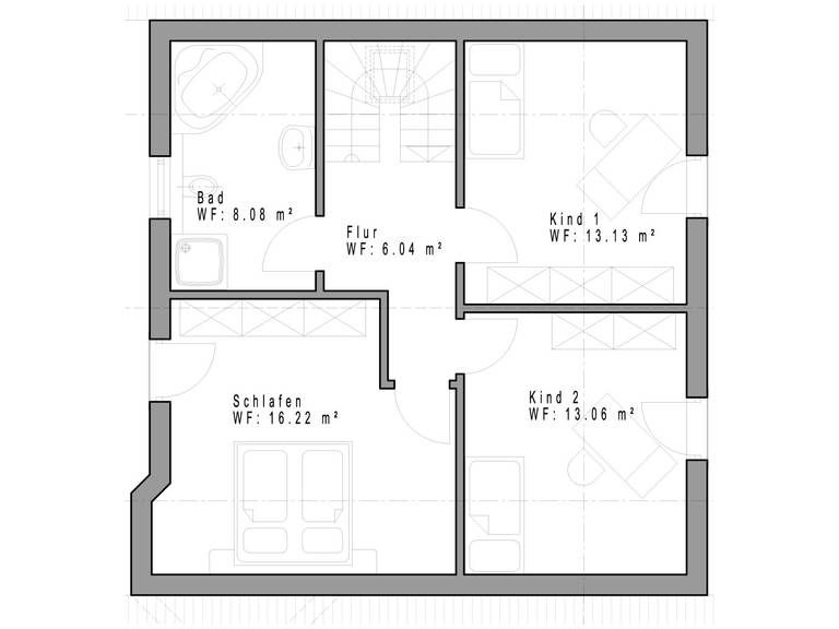 Haustyp SD124 Grundriss Dachgeschoss