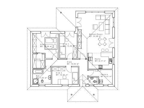 Haustyp B110 - Sachsenheimer Fertighaus - Grundriss
