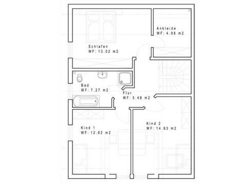 Doppelhaus DHH 125-1 Grundriss Dachgeschoss