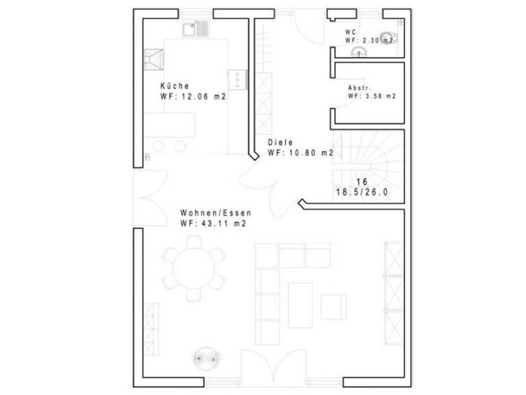 Doppelhaus DHH 125-1 Grundriss Erdgeschoss