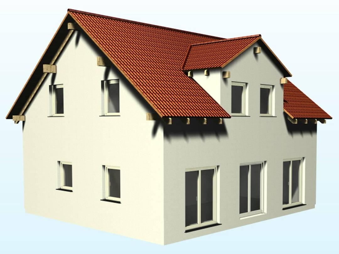 Aussenansicht auf die Terrassenseite das Satteldachhauses SD129.