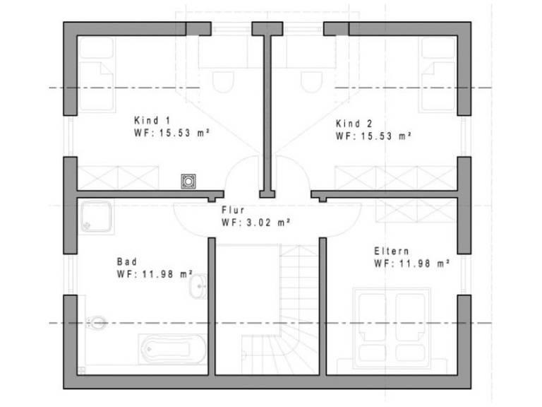 Haustyp SD129 Grundriss Dachgeschoss
