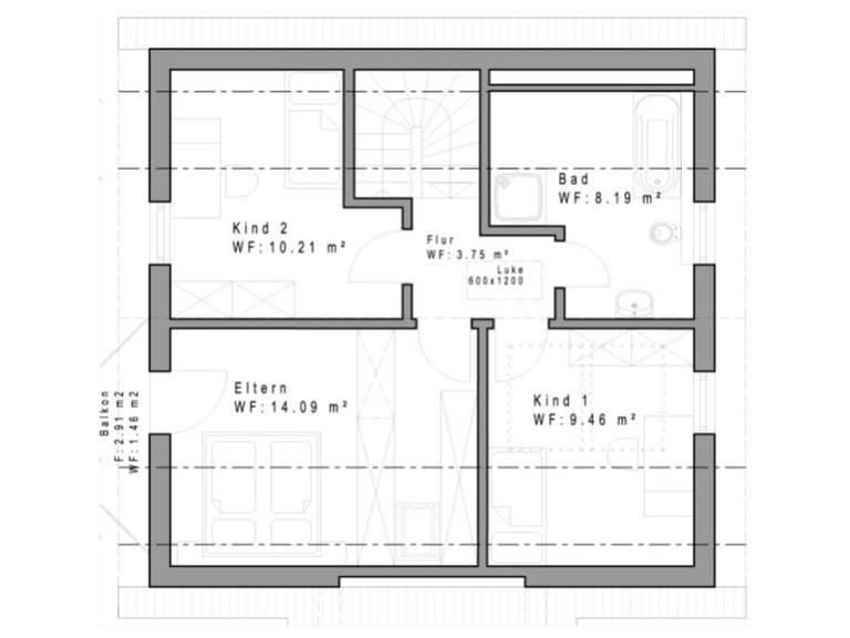 Haustyp SD116 Grundriss Dachgeschoss