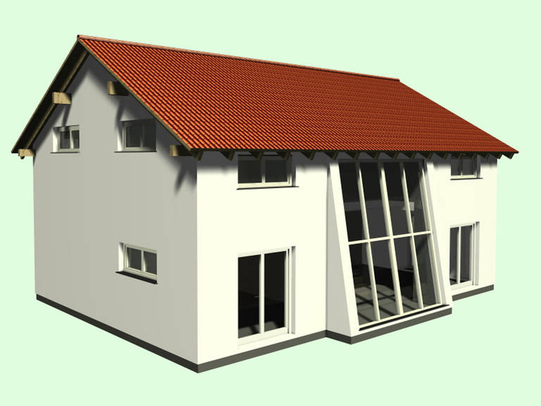 Aussenansicht auf die Terrassenseite mit großer Fensterfront.
