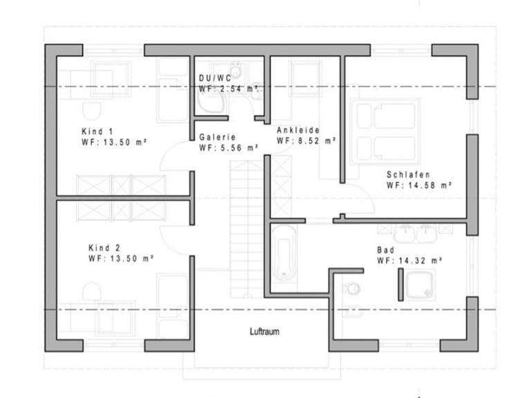 Haustyp SD162 Grundriss Dachgeschoss