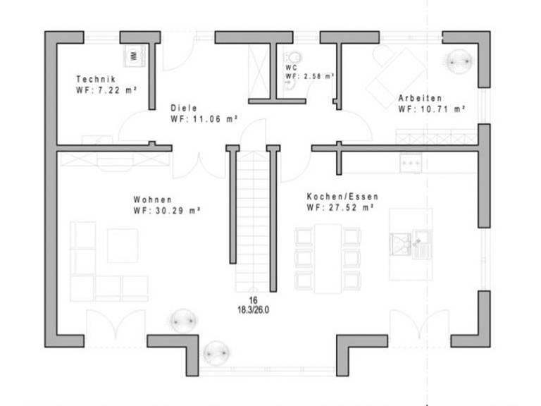 Haustyp SD162 Grundriss Erdgeschoss