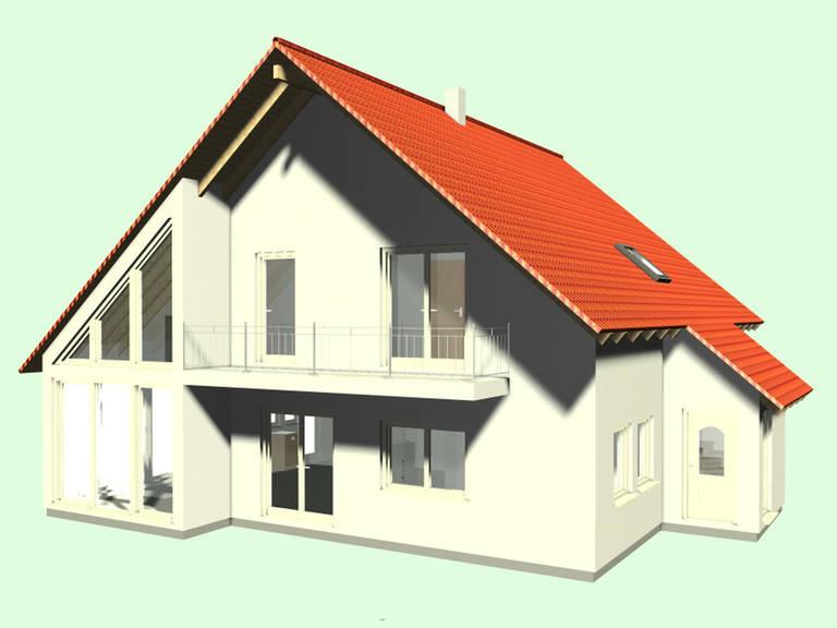 Aussenansicht auf den Hauseingang und den zweiten Balkon.