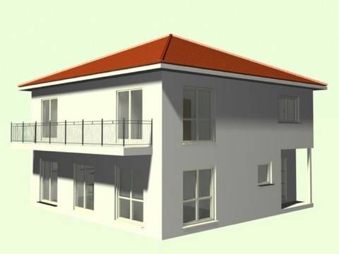 Aussenansicht auf die Terrasse und den Balkon der Stadtvilla.