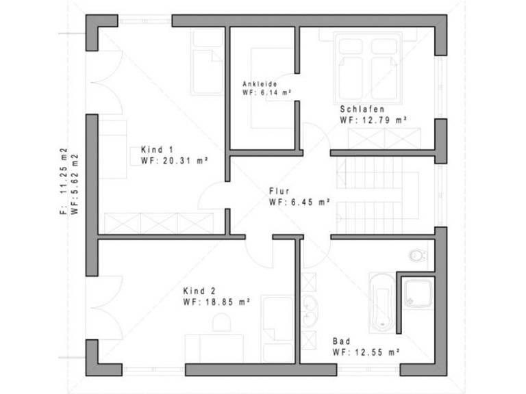 Haustyp WD160 Grundriss Dachgeschoss