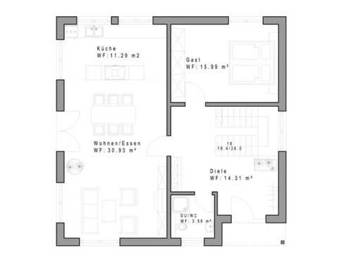 Haustyp WD160 Grundriss Erdgeschoss