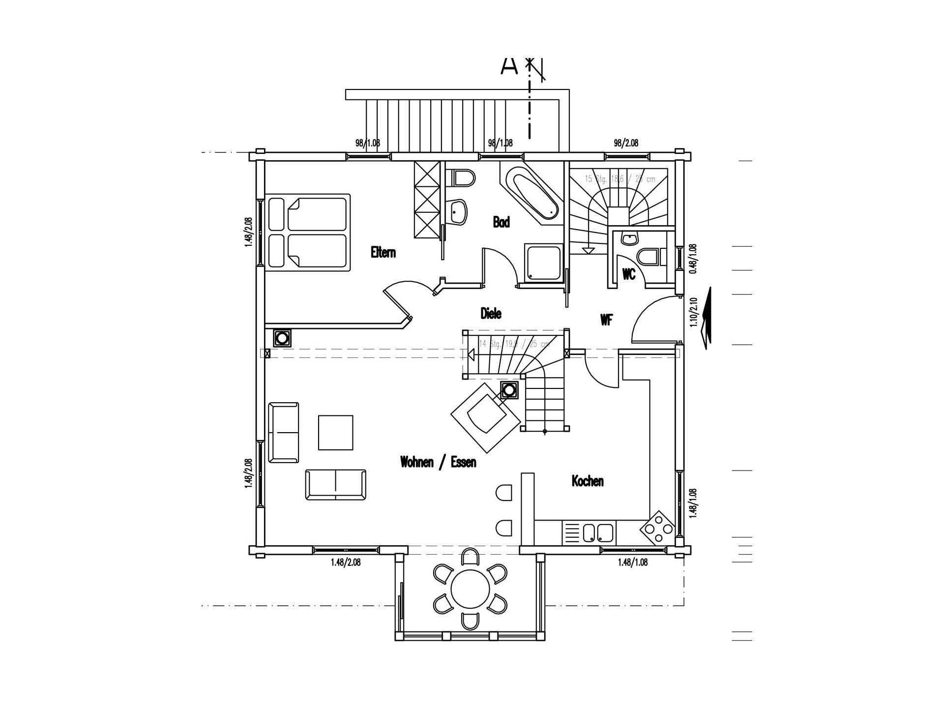 Grundriss Erdgeschoss Holzhaus am Limes von Fullwod Wohnblockhaus