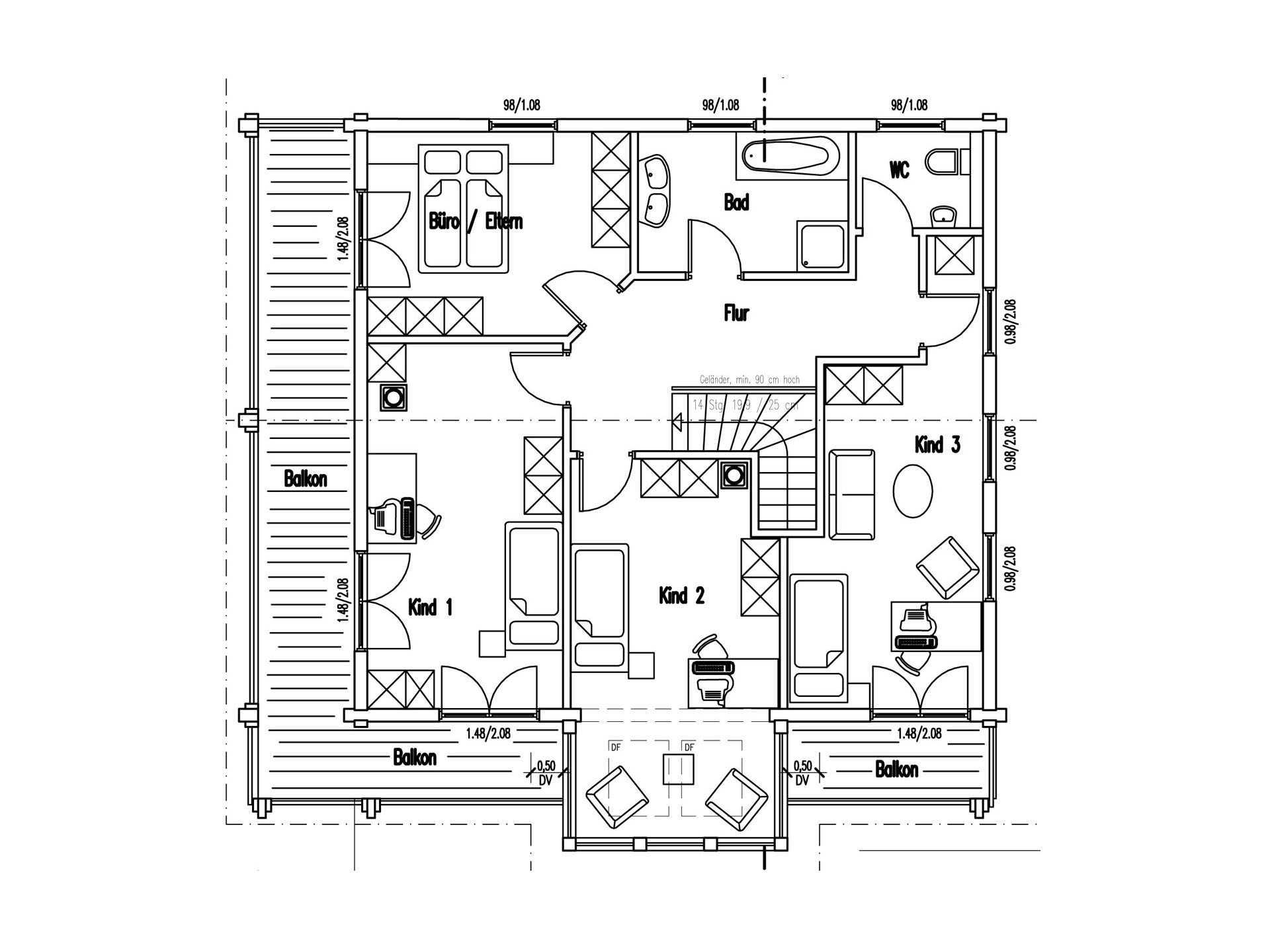 Grundriss Obergeschoss Holzhaus am Limes von Fullwod Wohnblockhaus
